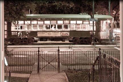 New Orleans Historic Trolley view from the Garden District B&B