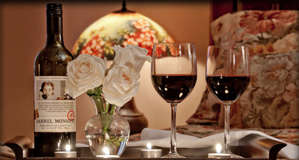 Wine and Flowers at a New Orleans Inn