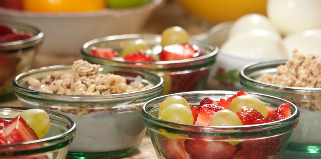 Breakfast Bowls - Fruit and pastry in a New Orleans Inn