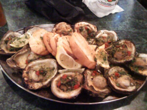 Grilled oysters on the halfshell