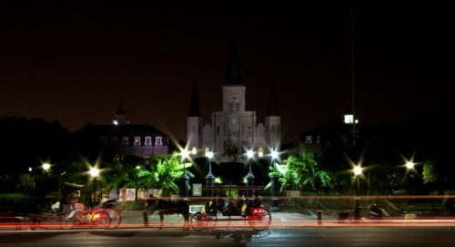 New Orleans at night, traffic in Jackson Square