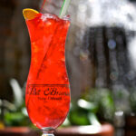 Hurricane, famous drink from Pat O'Briens, red drink with blurred background